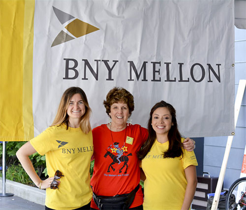 Carole Charnow with event sponsor B.N.Y Mellon